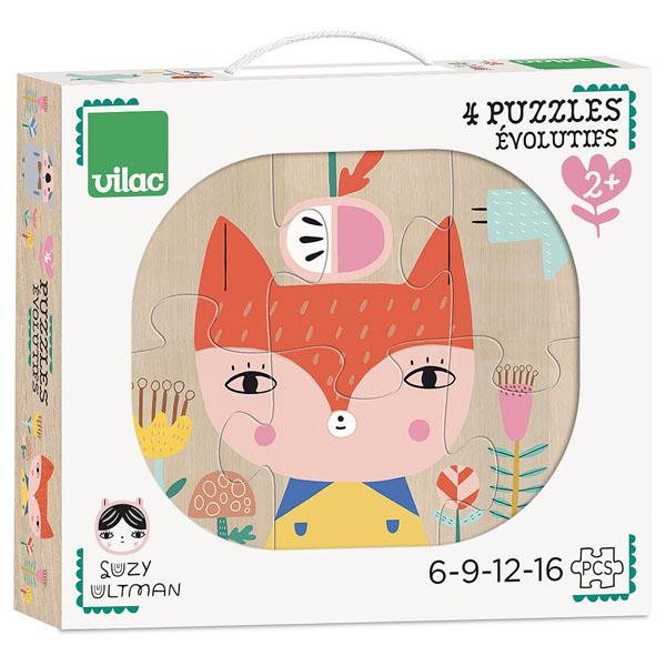 Vilac 4 houten puzzels vanaf 2 jaar Suzy Ultman Voor kleine puzzelaars vanaf 2 jaar is deze set met 4 houten puzzels een echte aanrader. In de houten opbergdoos zitten 4 verschillende puzzels, met 6-9-12 en 16 houten puzzelstukken. De prachtige illustraties zijn van Suzy Ultman voor het Franse merk Vilac. De educatieve puzzels zijn ideaal als verjaardagscadeautje.