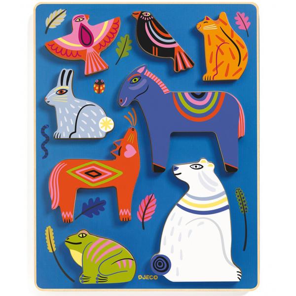 Djeco houten puzzel Nora vanaf 1 jaar Nora is een houten puzzel van het Franse merk Djeco voor kinderen vanaf 18 maanden. De mooie illustraties met dieren zijn van Margaux Carpentier.