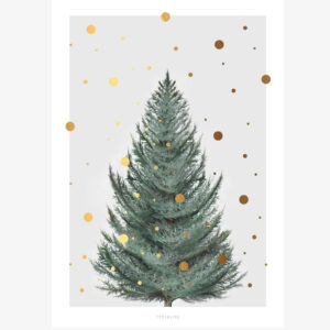 Dennenboom wenskaart enkel Deze wenskaart met een Zweedse dennenboom met gouden sneeuwvlokken is gedrukt met een vierkleuren-offsetdruk op natuurlijk papier (400 g / m²). De achterkant is blanco. Afmeting: 10cm x 14cm Check ook de groene, zwarte spar en let it snow wenskaarten.