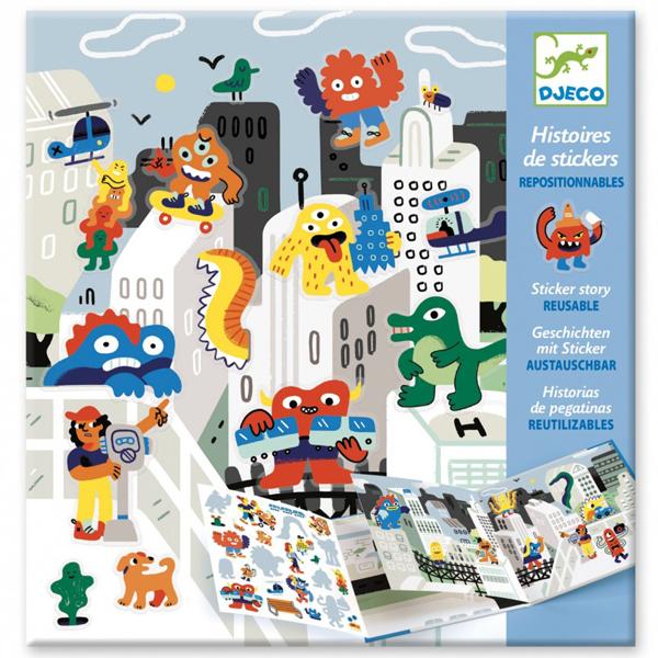Djeco Stickerverhaal monsters vanaf 4 jaar Sticker stories is een creatieve stickerset met 50 herbruikbare stickers. In de stevige verpakking zitten 2 achtergronden en 50 herbruikbare stickers om je eigen monster verhaal te illustreren. De monster sticker stories zijn geschikt voor kinderen vanaf 4 jaar. De mooie illustraties zijn van Andy J Miller voor het Franse merk Djeco. De herbruikbare monster stickerset is ook leuk als verjaardagscadeautje.