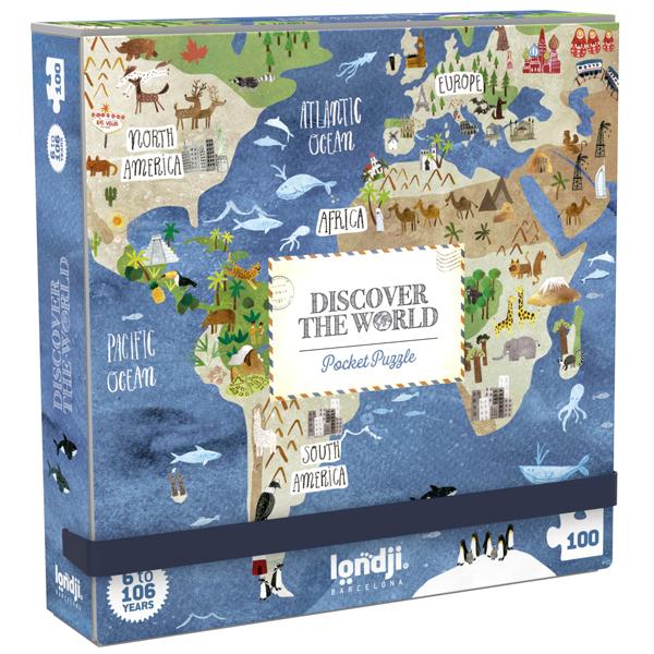 Londji Discover the World pocket puzzel 100 stuks vanaf 6 jaar Van het Spaanse merk Londji is deze handige pocket puzzel met 100 puzzelstukken. Handig om mee op vakantie te nemen of leuk als verjaardagscadeautje. Geschikt voor puzzelaars vanaf 6 jaar. Afmeting puzzel:23,5cm x 16,50cm Afmeting doos:13cm x 13cm x 13cm Ontdek ook de grote puzzel variant met 200 puzzelstukken van Discover the World