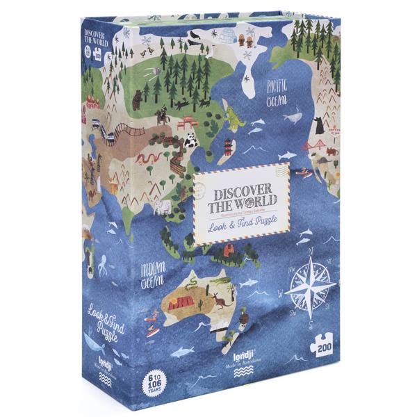 Puzzel Discover the world 200 stuks vanaf 6 jaar De grote blauwe planeet verbergt veel geheimen. Eerst moet je de puzzel oplossen en vervolgens de Eiffeltoren, de Big Ben of de panda zoeken. De Discover the world puzzel heeft200 puzzelstukken en 34 observatiekaarten en is geschikt voor kinderen vanaf 6 jaar. IllustratieCarmen Saldaña Leeftijd vanaf6 jaar 200 puzzelstukken Afmeting puzzel:67cm x 48cm Afmeting doos: 30cm x 20cm