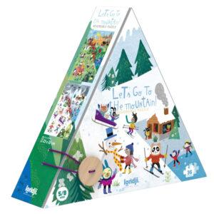 Londji Let's go to the mountain puzzel 36 stuks vanaf 5 jaar Let's go to the mountain is een dubbelzijdige kartonnen puzzel van het Spaanse merk Londji. In de mooie stevige hersluitbare doos zitten 36 kartonnen puzzelstukken. De mooie mountain puzzel is geschikt voor kinderen vanaf 5 jaar en leuk als verjaardagscadeautje of handig om mee op vakantie te nemen. De illustraties zijn van Maria Dek. Afmeting puzzel: 23cm x 32cm Afmeting doos: 19cm x 13cm x 6cm