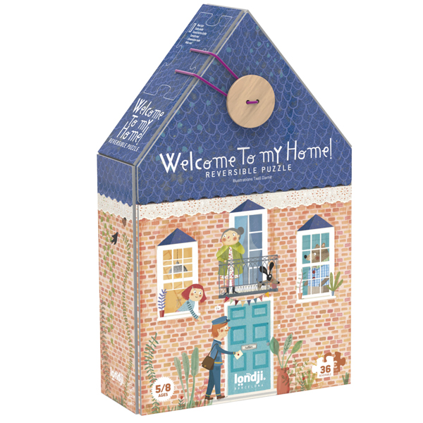 Londji Welcome to my home puzzel 36 stuks vanaf 5 jaar Welcome to my home is een dubbelzijdige puzzel van het Spaanse merk Londji. In de mooie decoratieve kartonnen doos in de vorm van een huis zitten 36 puzzelstukken. De dubbelzijdige puzzel is geschikt voor kinderen vanaf 5 jaar en leuk als verjaardagscadeautje.