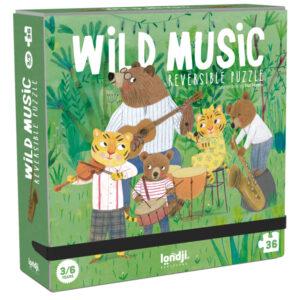 Londji Wild music puzzel 36 stuks vanaf 3 jaar Wild music is een dubbelzijdige puzzel van het Spaanse merk Londji. In de stevige kartonnen hersluitbare doos zitten 36 puzzelstukken. Maak de puzzel en ontdek al spelenderwijs de verschillende soorten muziekinstrumenten. De illustraties zijn van Mar Ferrero. Geschikt voor kinderen vanaf 3 jaar. Afmeting puzzel:48 cm x 12cm Afmeting doos:16cm x 16cm x 5cm