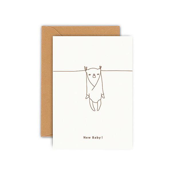 Wenskaart mini New Baby! Ted & Tone Deze mini wenskaart van 7,5cm x 10cm is gedrukt in Nederland op 350 gram kringlooppapier. Inclusief bruine envelop. Als finishing touch aan een cadeau of om op je plank te zetten!