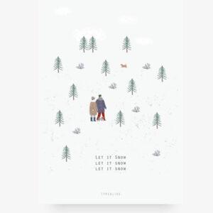 Let it snow wenskaart enkel Deze wenskaart met een sneeuw landschap is gedrukt met een vierkleuren-offsetdruk op natuurlijk papier (400 g / m²). De achterkant is blanco. Check ook de andereZweedse spar kerstkaarten. Afmeting: 10cm x 14cm