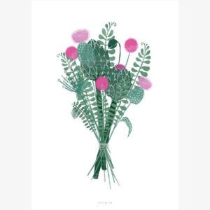 Wallflower wenskaart enkel Deze wenskaart met een prachtig boeket bloemen is gedrukt met een vierkleuren-offsetdruk op natuurlijk papier (400 g / m²). De achterkant is blanco. Afmeting: 10cm x 14cm