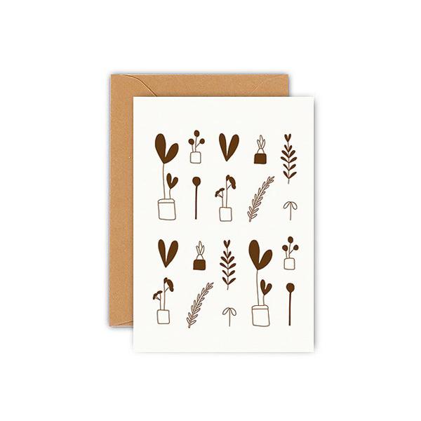 Mini plants wenskaart Ted & Tone Gedrukt in Nederland op 350 gram kringlooppapier. De mini plants wenskaart is gemaakt van landbouwafval zodat er geen boom gekapt hoeft te worden. Dubbele wenskaart 7,5 x 10cm, inclusief bruine envelop. Ontdek ook deThank you wenskaartvan Ted & Tone.