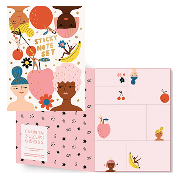 Carolyn Suzuki - Sticky notes fruity femmes Carolyn Suzuki woont in Los Angeles en maakt prachtige illustraties met felle kleuren en speelse patronen die vreugde en diversiteit naar voor brengen. Met haar mooie illustraties met een tikkeltje humor steunt ze verschillende goede doelen zoals mensenrechten en het klimaat. Ze gebruikt het bereik van haar kunst in haar activisme om vrouwelijke ondernemers te ondersteunen. Carolyn heeft de laatste 8 jaar een wenskaartenbedrijf en verkoopt haar mooie illustraties van Japan tot Australië. Kidsdinge is dan ook fier om haar prachtige illustraties in Belgie te laten zien. Deze set met plakbriefjes,sticky notes van 15 x 20 cm heeft een palet van 7 blokken van verschillende groottes voor al je notities. Op elke notitieblok zitten 26 pagina's. Gedrukt op FSC-gecertificeerd papier in Engeland.