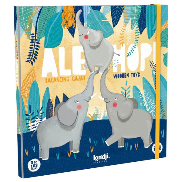 Londji Ale Hop Houten olifanten spel vanaf 3 jaar Begin met een olifant, dan een bal, daarna nog een olifant, en nu ... Pas op dat ze niet vallen! Laten we eens kijken welke onverschrokken spelers de zwaartekrachtwetten trotseren en de hoogste toren bouwen. Het Ale hop houten olifanten spel van het Spaanse merk Londji is geschikt voor kinderen vanaf 3 jaar. Materiaal: Gerecycled hout en organische kleurstoffen Verpakking: Stevige kartonnen doos Afmeting doos: 26,5 x 26,8 x 2,1 cm
