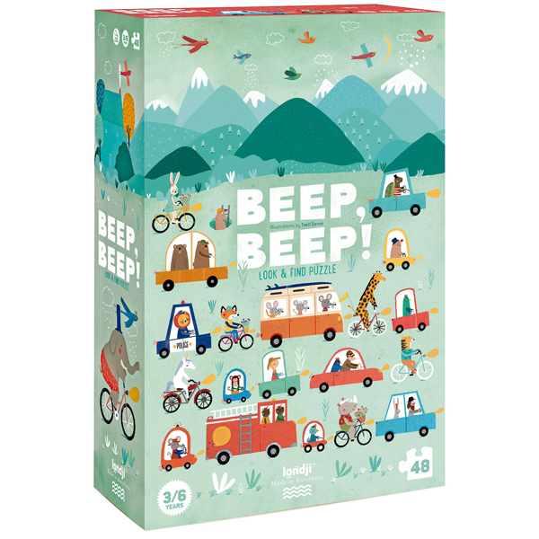 Londji Puzzel Beep Beep 48 stuks vanaf 3 jaar Voorzichtige chauffeurs, blije fietsers en vrachtwagens vol ijs. Moge de route nooit eindigen! Zodra de puzzel is samengesteld, is Beep Beep ook een leuk observatiespel. Wie vindt als eerste de 10 chauffeurs? Een puzzel van 48 stukjes en 10 stukjes in autovorm voor het observatiespel. De kartonnen puzzel Beep Beep is van het Spaanse merk Londji en geschikt voor kinderen vanaf 3 jaar. Gedrukt met biologische inkt op gerecycled karton.