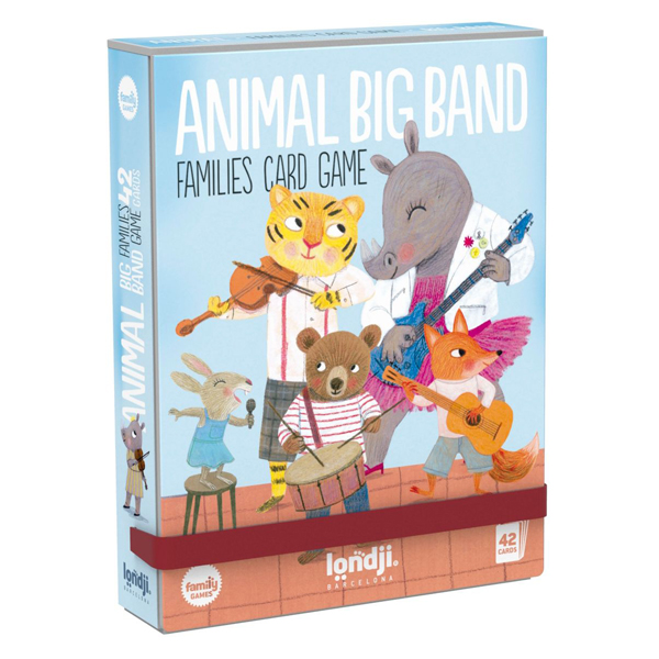 Londji kaartenspel Animals Big Band vanaf 3 jaar Laten we muziek spelen! Tot welke muzikantenfamilie behoor je? Beren, olifanten, tijgers, neushoorns, vossen, konijnen, muizen ... Iedereen komt samen om een geweldige band te creëren! Verzamel ze allemaal met dit familiekaartspel. Wie erin slaagt om alle leden van dezelfde familie te groeperen, wint! Een spel voor de kleintjes om de verschillende muziekinstrumenten te leren terwijl ze plezier hebben. Gedrukt met biologische inkt op gerecycled karton. Animals big band is een kaartenspel van het Spaanse merk Londji voor kinderen vanaf 3 jaar.