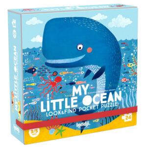 """Londji Puzzel My little ocean vanaf 3 jaar My little ocean is een handige pocket """"zoek en vind"""" puzzel met 24 puzzelstukken voor kinderen vanaf 3-5 jaar. De duurzame kartonnen puzzel is gedrukt met biologische inkt op gerecycled karton. De mooie kartonnen """"My little ocean"""" puzzel stimuleert de motoriek en is van het Spaanse merk Londji."""