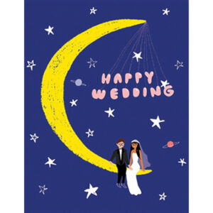 """Wenskaart Happy Weddings Carolyn Suzuk Carolyn Suzuki woont in Los Angeles en maakt prachtige illustratiesmet felle kleuren en speelse patronen die vreugde en diversiteit naar voor brengen. Met haar mooie illustraties met een tikkeltje humor steunt ze verschillende goede doelen zoals mensenrechten en het klimaat. Ze gebruikt het bereik van haar kunst in haar activisme om vrouwelijke ondernemers te ondersteunen. Carolyn heeft de laatste 8 jaar een wenskaartenbedrijf en verkoopt haar mooie illustraties van Japan tot Australië. Kidsdinge is dan ook fier om haar prachtige illustraties in Belgie te laten zien. De """"Happy Weddings"""" dubbele wenskaart is geprint op 100% gerecycled FSC papier van berk. De afmeting van de dubbele wenskaart is 10,8cm x 14cm."""