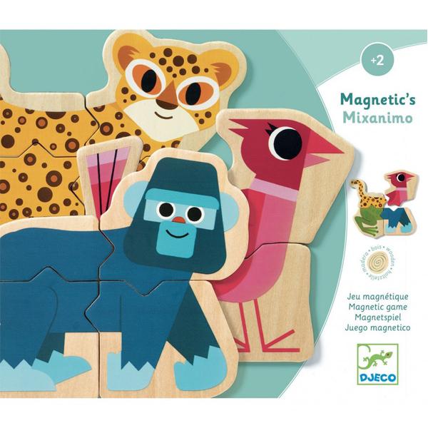 Djeco houten magneten mixanimo vanaf 2 jaar Mixanimo is een houten magneetset met verschillende dieren. Combineer de verschillende dieren en maak gekke dierencombinaties. In de stevige hersluitbare kartonnen doos zitten 6 houten puzzels. De illustraties zijn van Ben Newman voor het Franse merk Djeco. De educatieve magneetset van Djeco is geschikt voor kinderen vanaf 2 jaar. Leuk in de kinderkamer,magneetbord of op de koelkast om spelenderwijs nieuwe dieren te leren kennen.