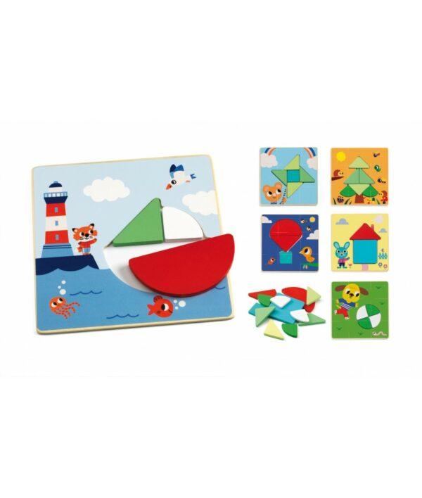 Djeco houten tangram vanaf 3 jaar Tangramini is een speelset met houten vormen. In de handige opbergdoos zitten 12 houten kleurrijke vormen en 6 speelkaarten. Leg de vormen op de juiste plaats en leer al spelenderwijs de verschillende vormen. De educatieve tangram is van het Franse merk Djeco en geschikt voor kinderen vanaf 3 jaar.