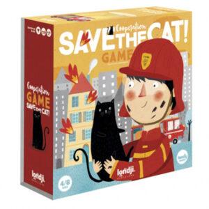 Londji Save the cat spel vanaf 4 jaar Save the cat is een coöperatief spel waarbij we de brandweermannen helpen het vuur te blussen om de kittens te redden die opgesloten zitten op het dak. Het educatief spel bevorderd samenspel om de beste strategie te bedenken om de kittens te redden. Al spelenderwijs leer je ook de waarde van cijfers. Save the cat is een spel van het Spaanse merk Londji uit Barcelona. Gedrukt op ecologisch karton en milieuvriendelijke inkt. Duurtijd van het strategisch spel is 15 minuten,aantal spelers tussen 2 en 8. Leeftijd tussen 4 en 8 jaar oud.