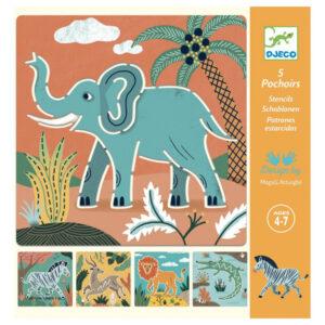 Djeco Wilde dieren sjablonen vanaf 4 jaar Voorkinderen die verzot zijn op wilde dieren in de jungleis deze sjabloonset een echte aanrader. In de hersluitbare verpakking zitten 5 verschillende sjablonen met wilde dieren waar je de mooiste tekeningen mee kan maken. De wilde dieren sjabloon set is geschikt voor kinderen vanaf 4-7 jaar. Leuk als verjaardagscadeautje of voor een feestje. De prachtige illustraties zijn van Magali Attiogbé voor het Franse merk Djeco.