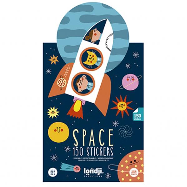 Space stickers Ben je verzot op de ruimte? Dan is deze stickerset van het Spaanse merk Londji een echte aanrader. In de verpakking zitten 2 scenes en 150 space stickers die je opnieuw kan hergebruiken. Geschikt voor kinderen vanaf 3 jaar. Ideaal voor een feestje of een verjaardag. Check ook de coole glow in the darkspace puzzel met 500 puzzelstukken.