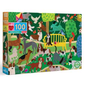 Eeboo Dogs at play puzzel 100 stuks 5j Dogs at play is een prachtige puzzel van 100 puzzelstukken voor kinderen vanaf 5 jaar. Ben je een hondenliefhebber? Ontdek al spelenderwijs de verschillende soorten hondenrassen. De puzzel is gemaakt van gerycled karton. De mooie illustraties zijn van Monika Forsberg voor het Amerikaanse merk Eeboo. Afmeting puzzel: 45,7cm x 68,5cm
