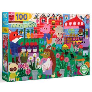 Eeboo Green market puzzel 100 stuks vanaf 5j Green Market is een vloerpuzzel met 100 puzzelstukken met een fantasievolle afbeelding van een levendige groene buitenmarkt. Een kleurrijke puzzel met illustraties van grillige dieren die heerlijk vers fruit, gebak en bloemen kopen en verkopen en genieten van een zonnig dagje uit. De puzzel is gemaakt van 90% gerycled karton en gedrukt met vegetarische inkt. De mooie illustraties zijn van Monika Forsberg voor het Amerikaanse merk Eeboo. Afmeting puzzel: 45,7cm x 68,5cm