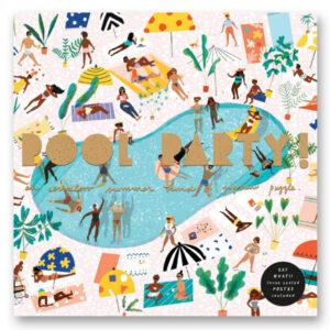 Pool party puzzel 1000 stuks Carolyn Suzuki Het is altijd zomer met deze Pool Party Puzzel! Deze legpuzzel van 1000 stukjes bevat illustraties van grappige mensen die zonnebaden, stoeien en zich vermengen onder de zon. De puzzel van 19,5 x 27,5 wordt geleverd met een inlijstbare poster in een mooie stevige kartonnen doos van goudfolie.